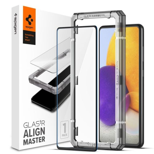 Samsung Galaxy A72 / A72 5G SM-A725F / A726B, Kijelzővédő fólia, ütésálló fólia (az íves részre is!), Tempered Glass (edzett üveg), Full Cover, Spigen Glastr Alignmaster, fekete