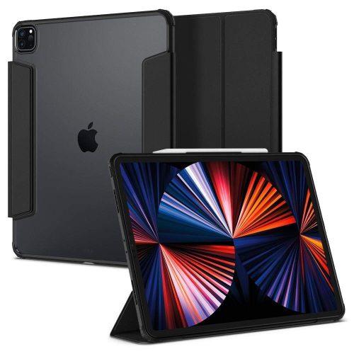Apple iPad Pro 12.9 (2021), mappa tok, légpárnás sarok, közepesen ütésálló, Apple Pencil tartóval, Smart Case, Spigen Ultra Hybrid Pro, átlátszó/fekete